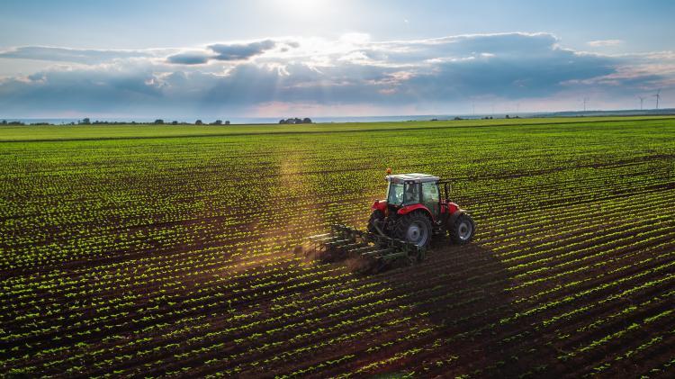 Farmer tractor field