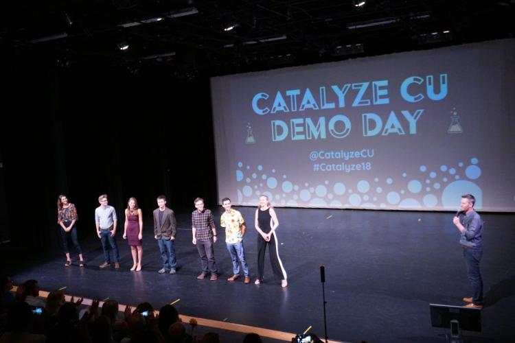 Students take stage during previous Catalyze Demo Day
