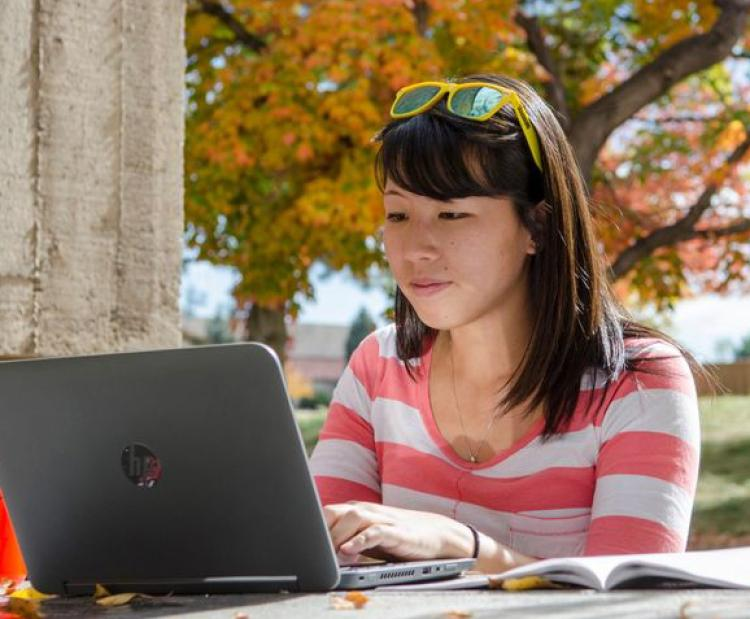 Student at computer on campus