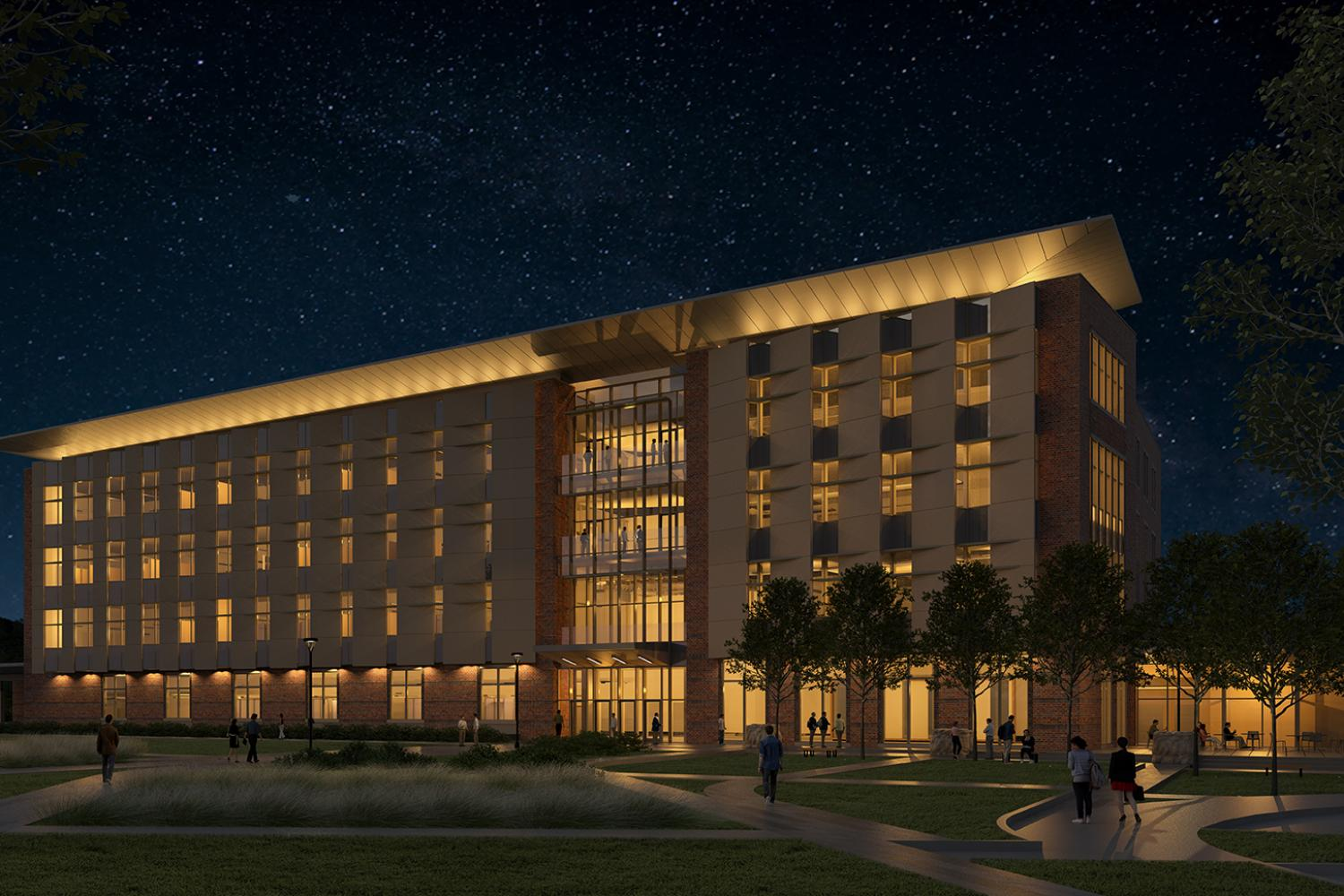 A rendering of the new aerospace building.