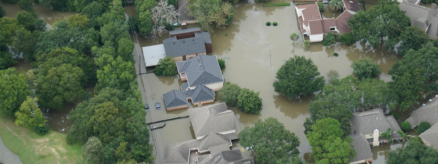 An aerial view of homes flooded by Hurricane Harvey.