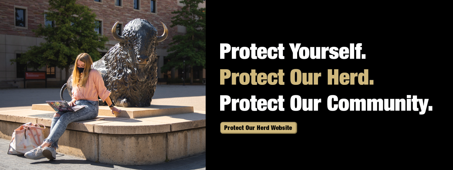 Protect Our Herd graphic with student wearing a mask on campus