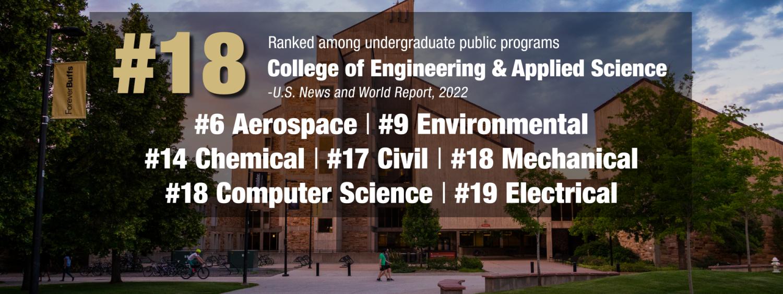 CU Engineering in public undergraduate program rankings 2022