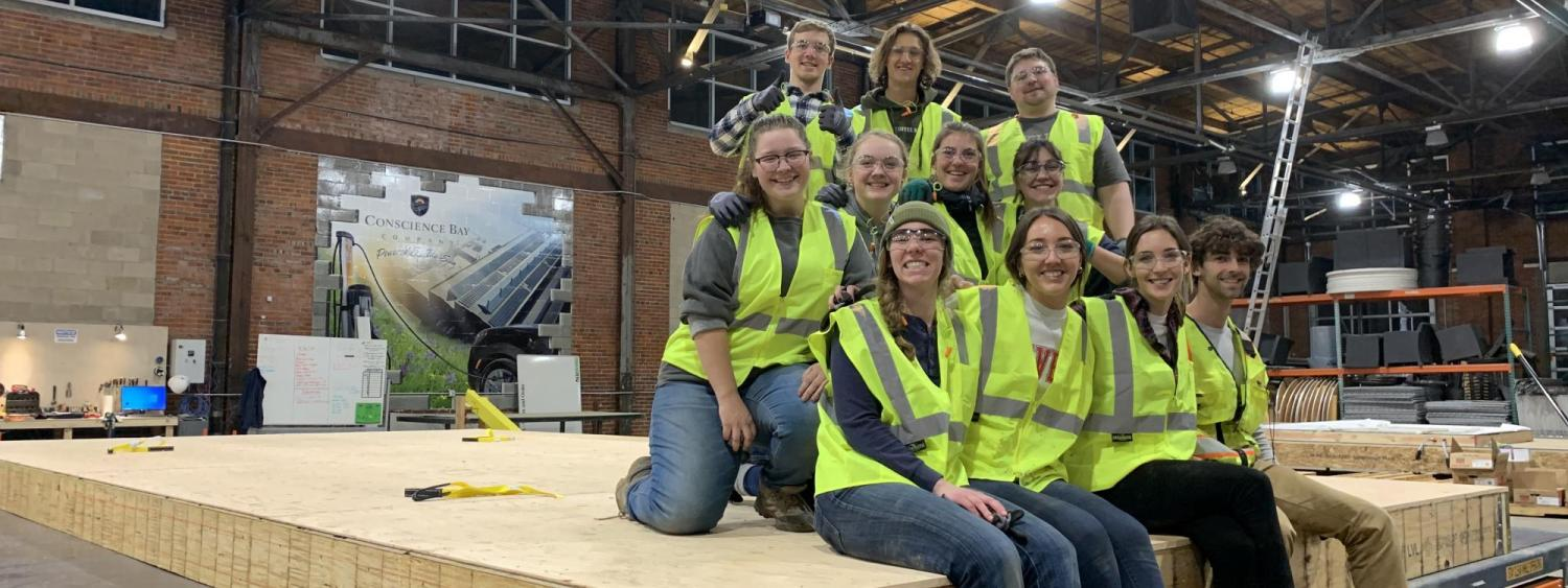 The Solar Decathlon team pre-COVID, at the warehouse where they worked on pre-fab portions of the home