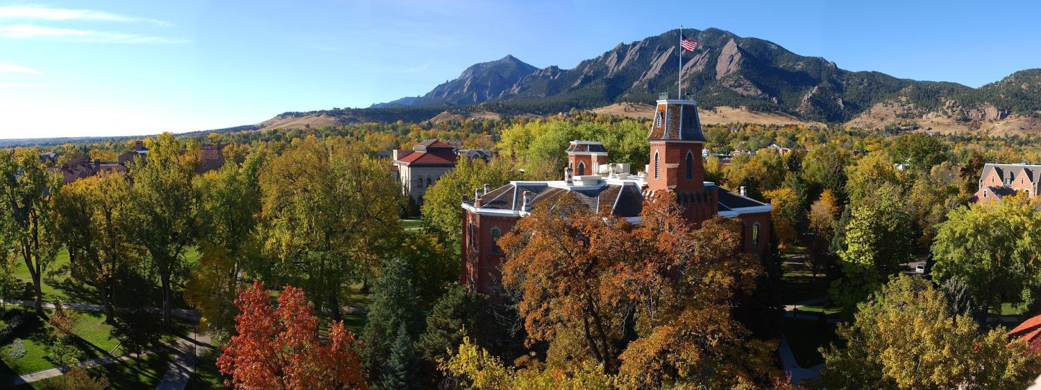A view of the most gorgeous college campuses', University of Colorado Boulder, with the flat irons in the background.