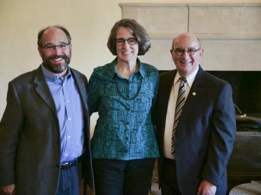 Leland Giovannelli with Ken Anderson and CU Boulder Chancellor Phil DiStefano.
