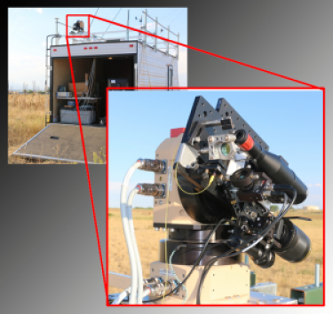 Close-up of a gimbal with a custom-built telescope and laser pitch / catch system