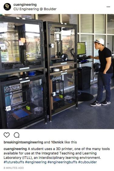 A students uses a 3D printer at the ITLL