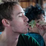 Ross Fischer eats exotic foods during study abroad