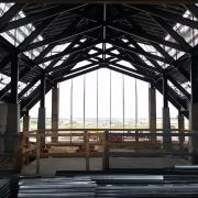 """The unfinished interior of the Gaylord Rockies Hotel and Convention Center's """"grand lodge."""""""