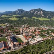 The CU Boulder campus and Flatiron Mountains.