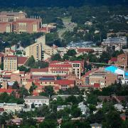 CU Boulder's campus seen from the air, looking at college of engineering