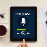 A podcasting app on a tablet device