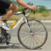 A person riding a road bike