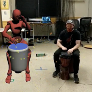 Drummer with augmented reality avatar