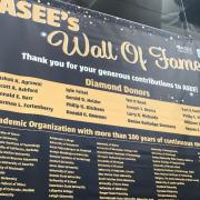 ASEE's Wall of Fame banner, with CU Boulder listed in the lower left.