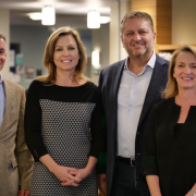From left: Bobby Braun, dean of the College of Engineering and Applied Science; Cindy Caruso; Dan Caruso; and Sharon Matusik, dean of the Leeds School of Business