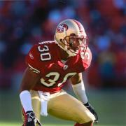 Donald Strickland on the football field for the San Francisco 49ers.