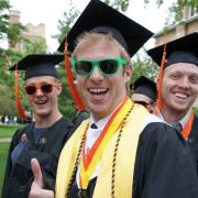 Students with graduation caps and sunglasses