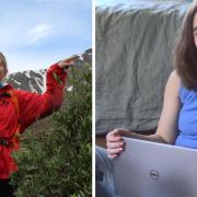 Emily Mitzak in front of mountain, Ella Sarder with laptop