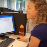 Erin Connor working at a computer