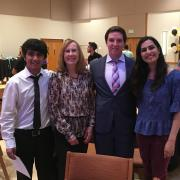 Anit Koirala (left) with ELP director JoAnn Zelasko and two other ELP students.