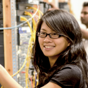 Female student in networking lab