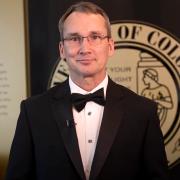 Interim Dean Keith Molenaar presenting at the 2021 Distinguished Engineering Alumni Awards ceremony