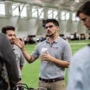 Gary Marshall demonstrates technology at engineering expo