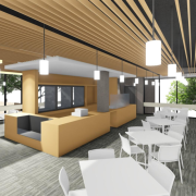 A rendering of the lobby renovation showing the new cafe space.
