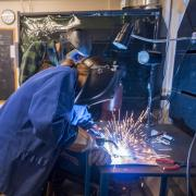 Mechanical Engineering undergraduate student welding