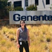 Madeleine Sitton at Genentech sign
