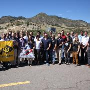 A group photo of the OSIRIS-REx team who are U Boulder alumni.