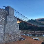 The nearly finished Swaziland bridge at sunset.