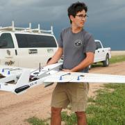 Alex Hirst with a UAV.
