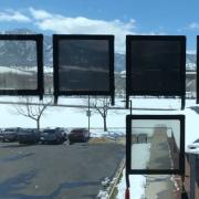 Dynamic tint windows showing various level of darkness