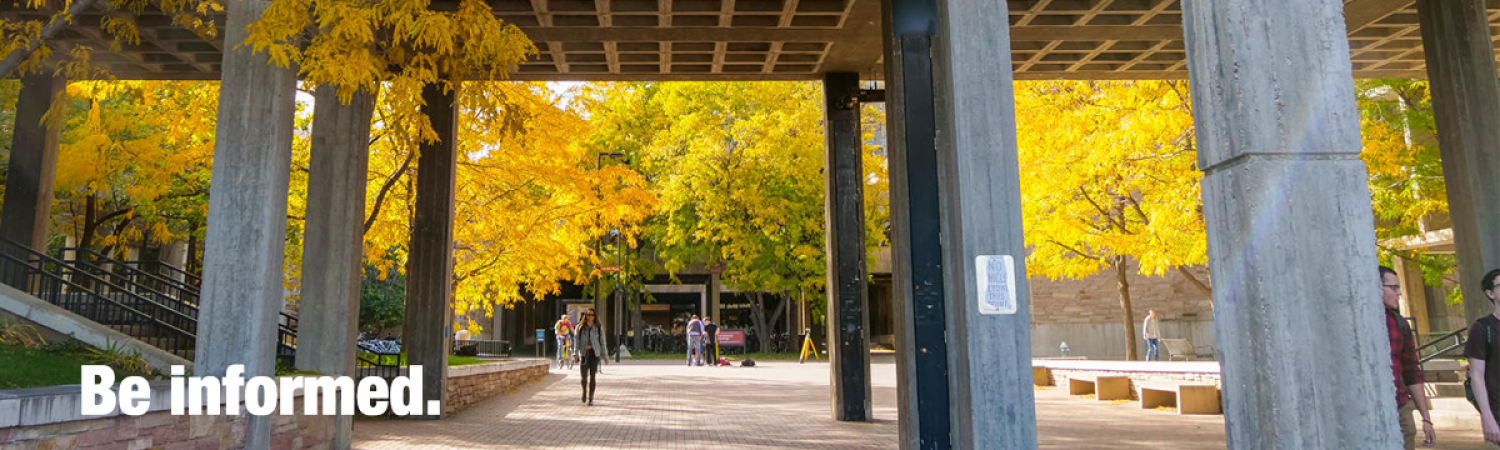 student walking under a building bridge and fall leaves all around