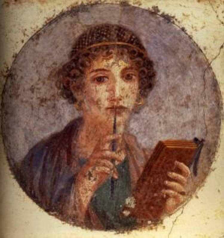 Painting of a woman holding a pen to her mouth