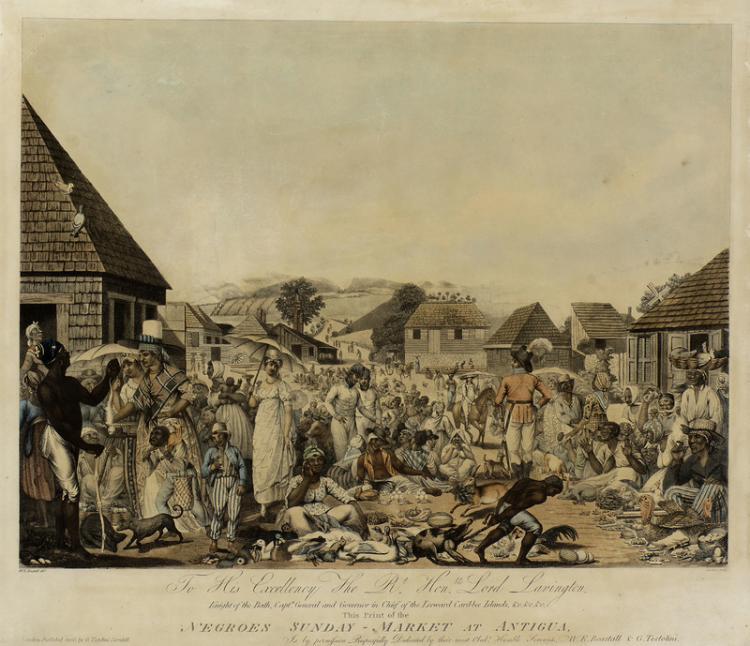 Illustration of a Sunday market