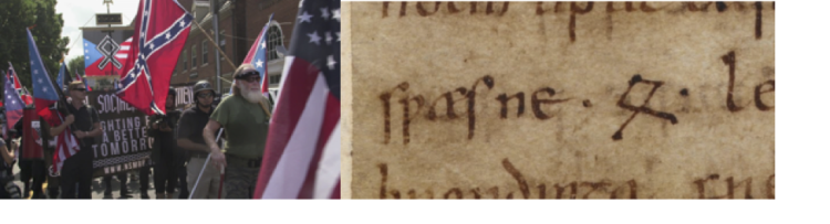 Neo-Nazis and Old English writing side-by-side