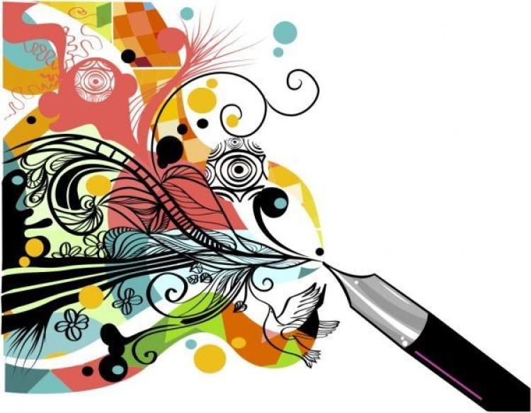 Illustration of a pen with a colorful design flowing out of it