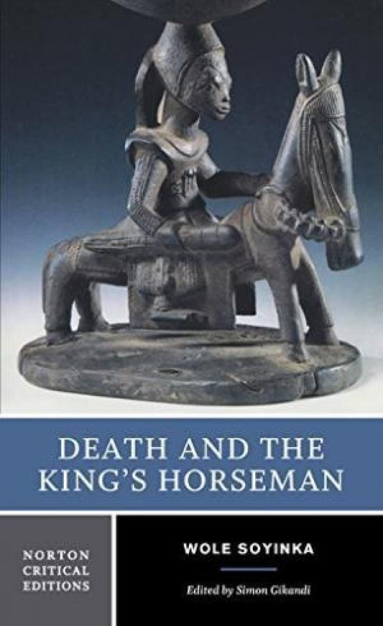 """A sculpture of a person on a horse with the words, """"Death and the King's Horseman"""" written below it"""