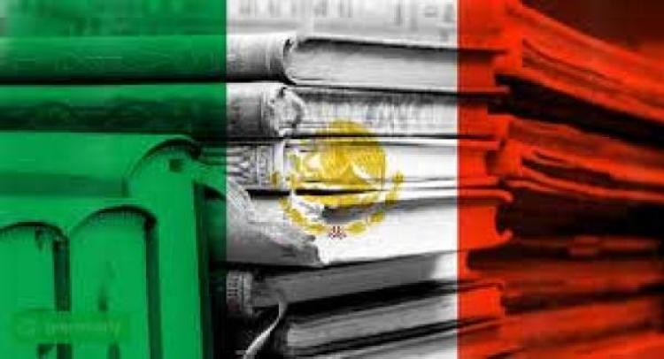 Mexican flag overlaying several books