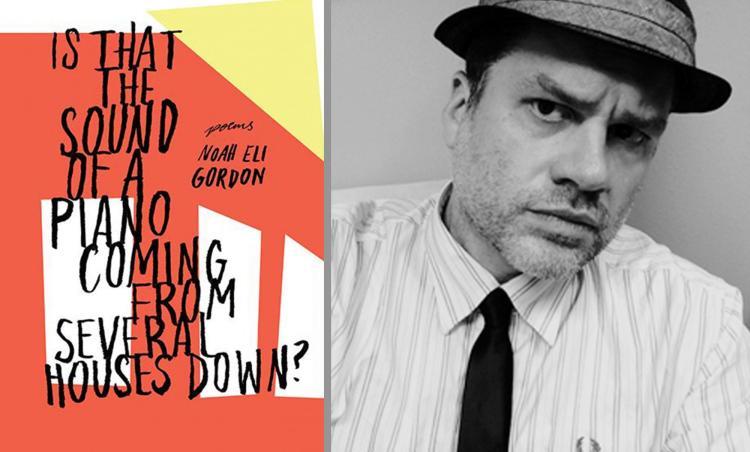 Noah Eli Gordon along side the cover of his book