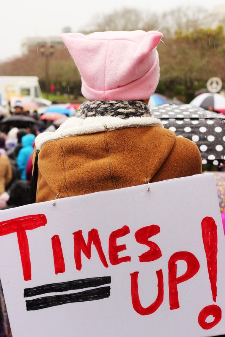 Woman with a pink hat and a sign that reads Times Up