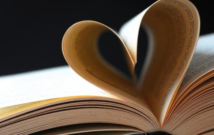 Book pages folded to look like a heart