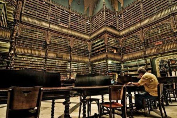 An old library filled with books