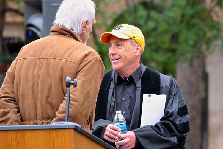 Art Kaufman prior to giving a commencement speech