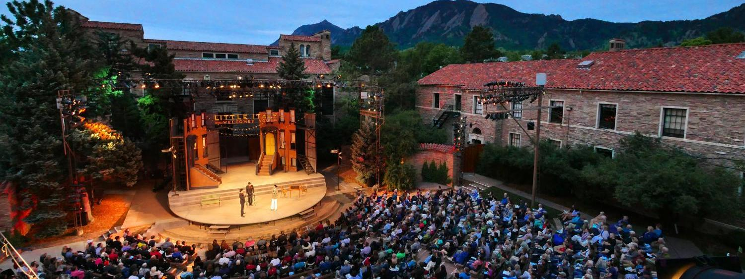 Overlooking the Colorado Shakespeare Festival on a summer evening.