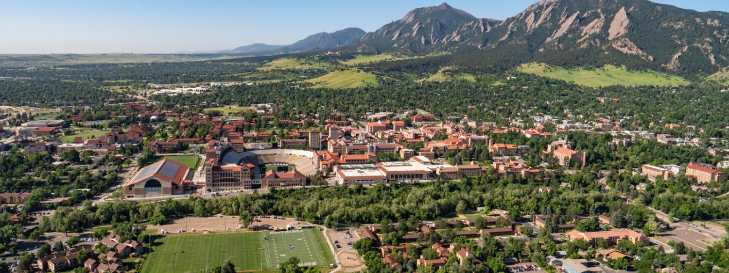 Aerial photo of all of campus with mountains in the back